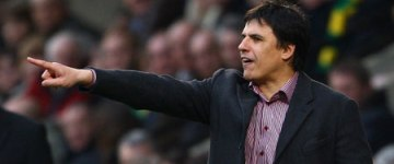 Chris Coleman points teh way to the Keepmoat